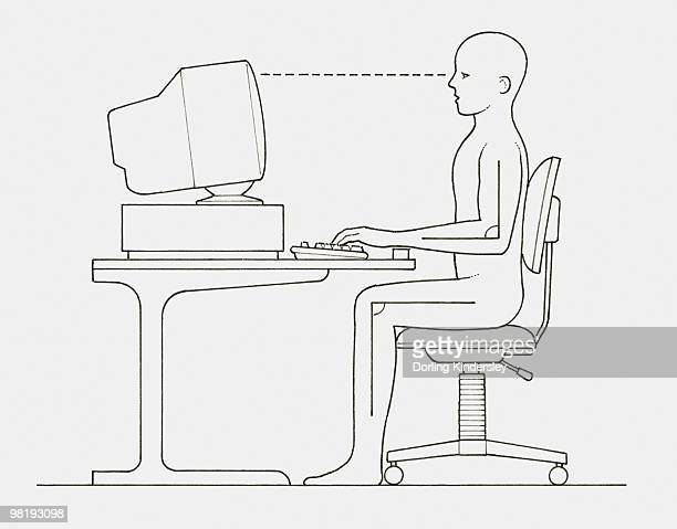black and white illustration of office worker positioned at computer with back straight and wrists and feet supported, side view - black studio点のイラスト素材/クリップアート素材/マンガ素材/アイコン素材
