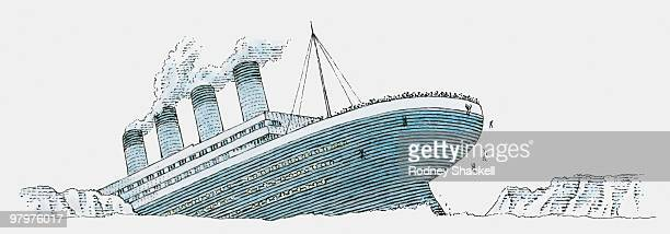 Black and white illustration of passenger falling from the sinking Titanic