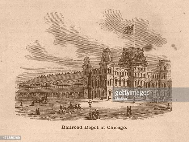 black and white illustration of railroad depot, chicago, 1800's - transportation building type of building stock illustrations, clip art, cartoons, & icons
