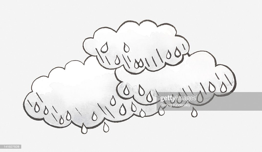Black and white illustration of rain clouds and raindrops : stock illustration