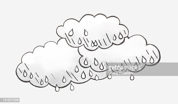 Black and white illustration of rain clouds and raindrops