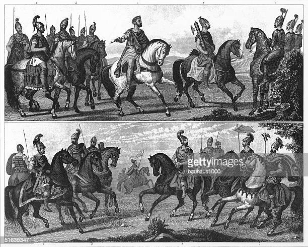 black and white illustration of roman soldiers and officers - etruscan stock illustrations