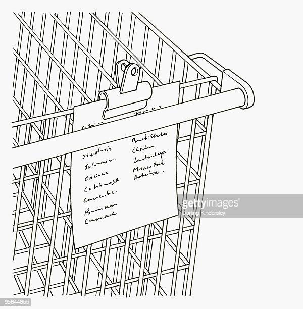black and white illustration of shopping list clipped to trolley - shopping list stock illustrations, clip art, cartoons, & icons