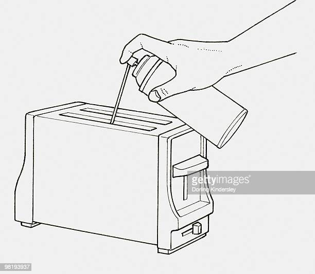 Black and white illustration of using compressed air spray to blow crumbs from toaster