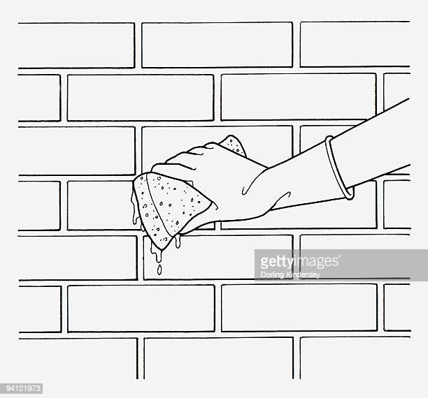 black and white illustration of wearing washing up glove on hand to sponge brick wall - washing up glove stock illustrations, clip art, cartoons, & icons