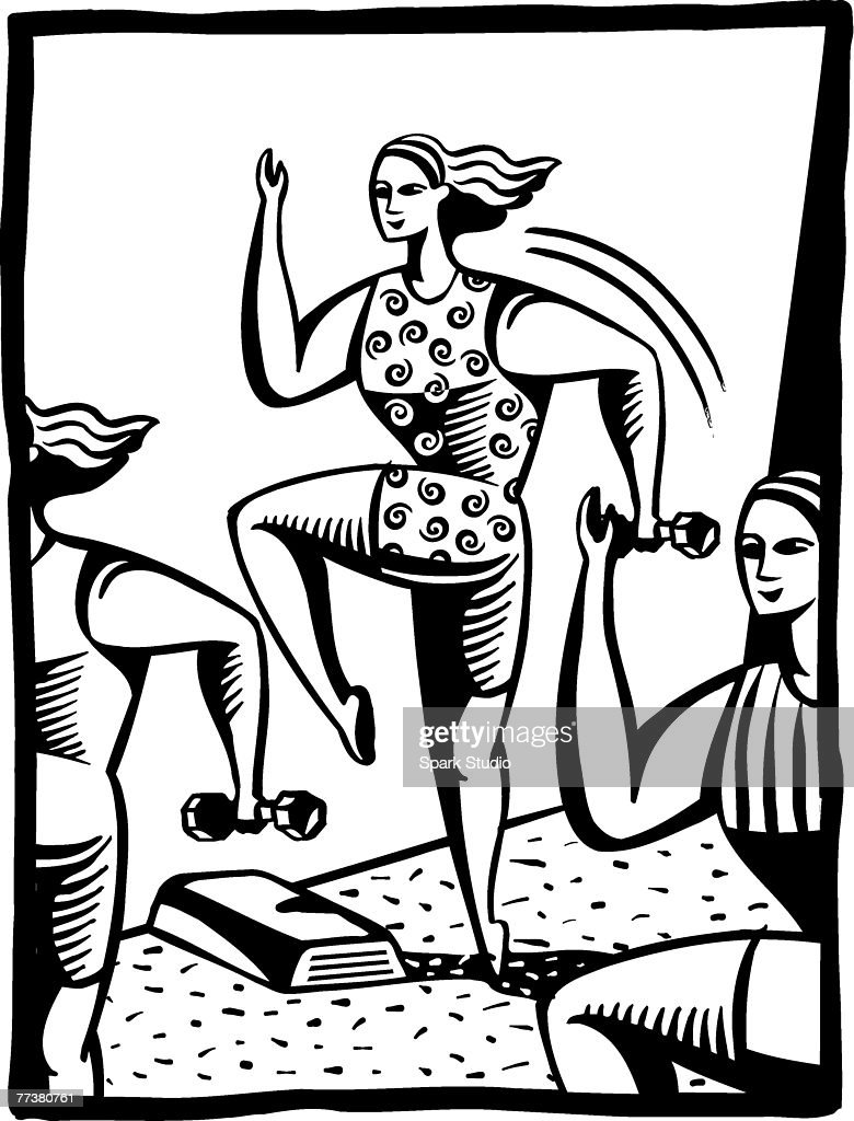A black and white illustration of women exercising at an aerobics class : Illustration