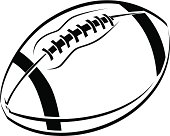 Black and White line art drawing of an American football