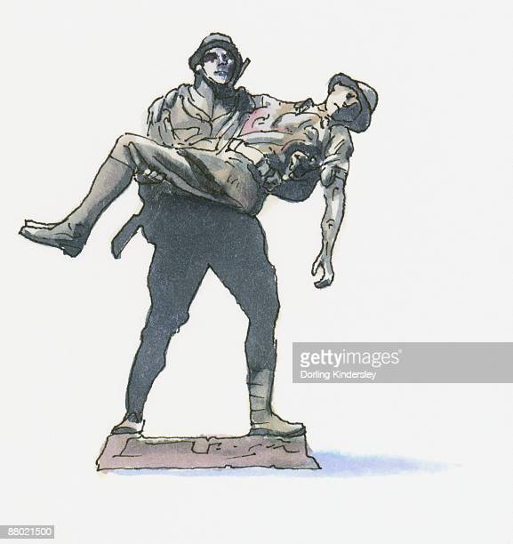 Black and white llustration of Mehmetcik Memorial, showing Turkish Soldier carrying an Australian Soldier, Gallipoli