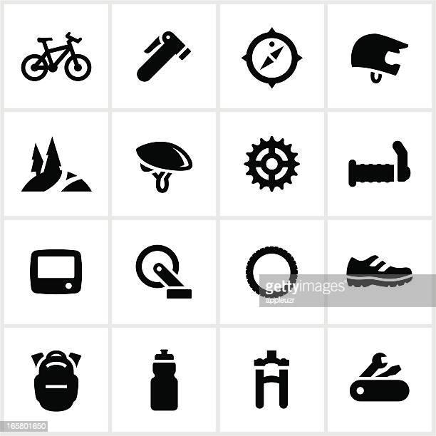 ilustrações de stock, clip art, desenhos animados e ícones de preto e brancos ícones de andar de bicicleta de montanha - mountain bike