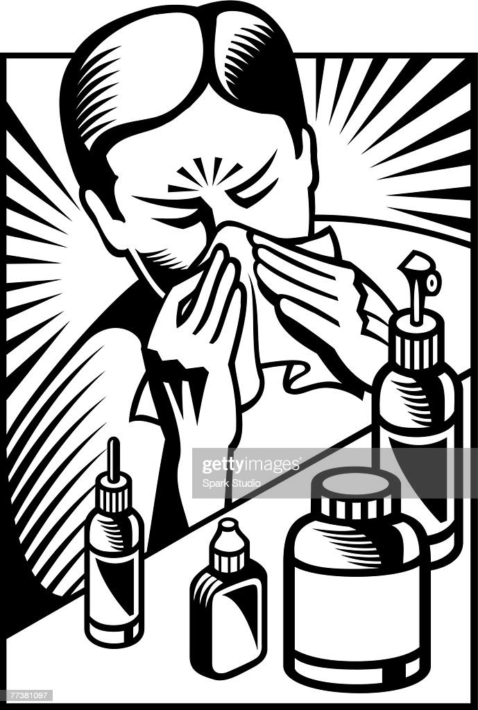 A black and white picture of a man having cold and flu : stock illustration
