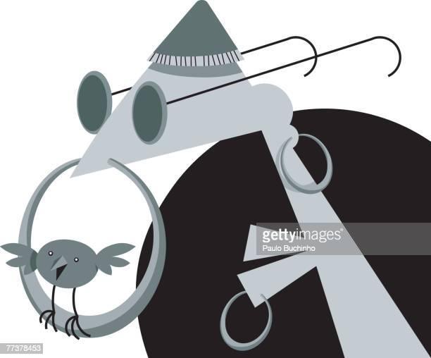 ilustrações de stock, clip art, desenhos animados e ícones de a black and white picture of a man with his pet bird perching on his nose ring - buchinho