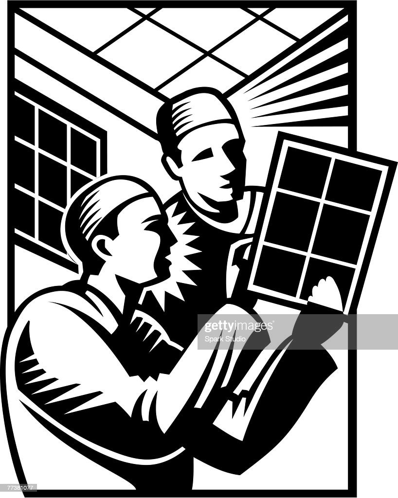 A black and white picture of doctors looking at test results : stock illustration