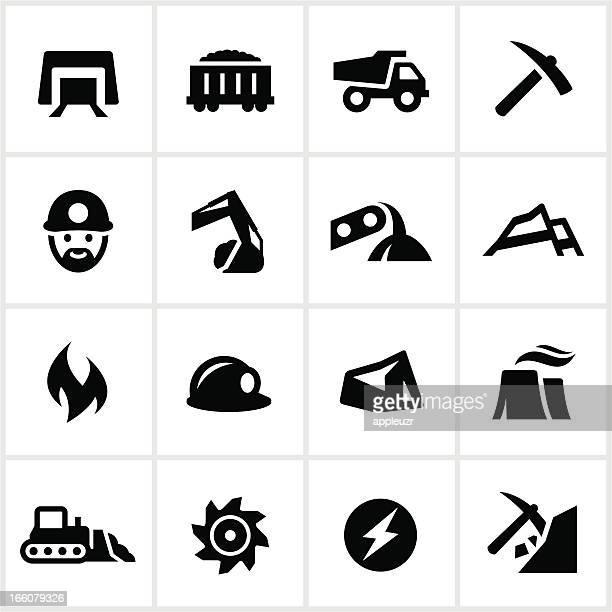 Black and white set of coal mining icons