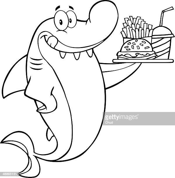 Black and White Shark Holding A Plate Of Fast Food