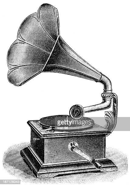 black and white sketch of an old-fashioned gramophone - gramophone stock illustrations, clip art, cartoons, & icons