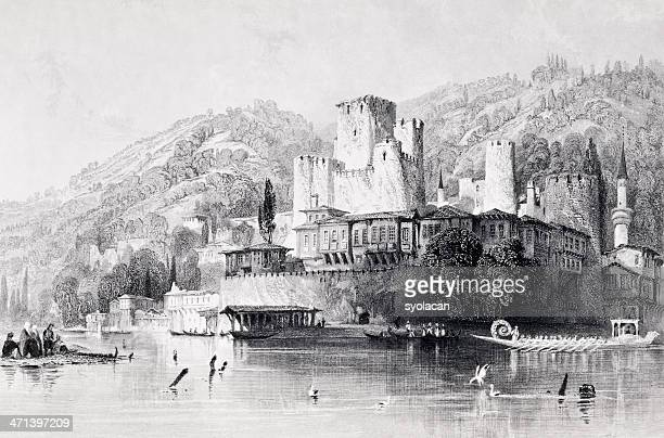 A black and white sketch of the Anatolian Fortress