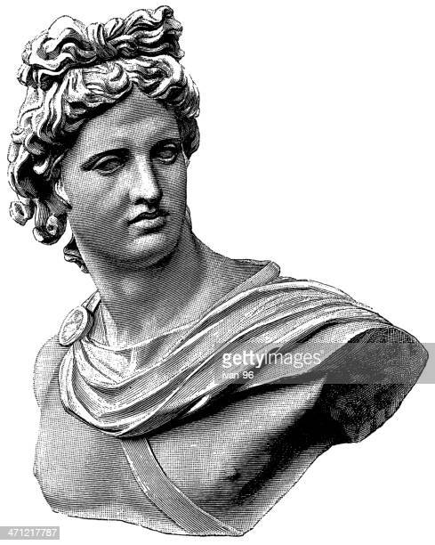 a black and white sketch of the apollo belvedere statue - greek gods stock illustrations, clip art, cartoons, & icons