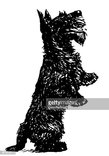 A black and white version of a black Scottish Terrier standing on its hind legs