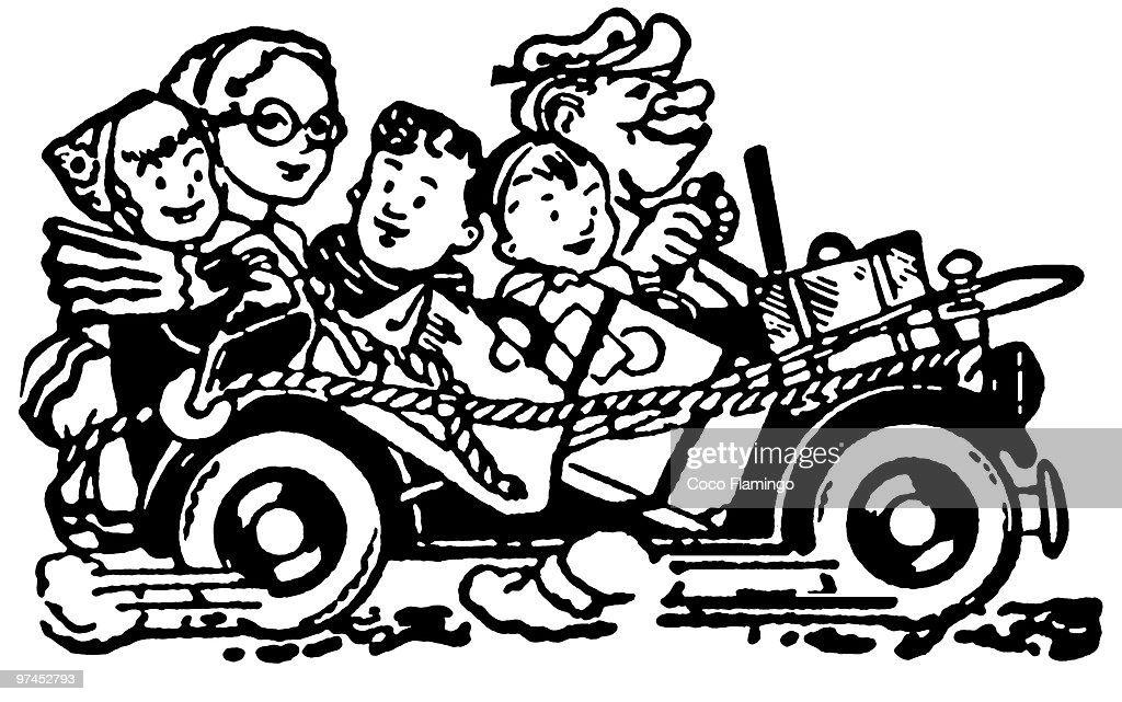 A black and white version of a cartoon style image of a car packed full of family and bags set for v : Stock Illustration