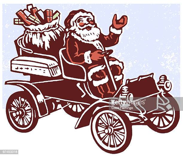 stockillustraties, clipart, cartoons en iconen met a black and white version of a christmas inspired illustration of santa in a car full of gifts - classic car christmas