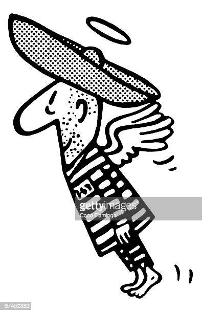 a black and white version of a flying man in a sombrero - glühend stock illustrations