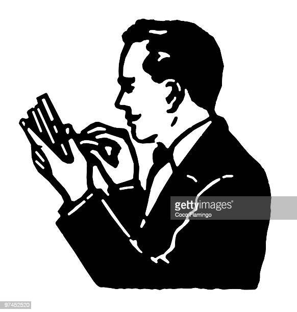 ilustraciones, imágenes clip art, dibujos animados e iconos de stock de a black and white version of a graphical illustration of a man counting his pennies - fajo de billetes