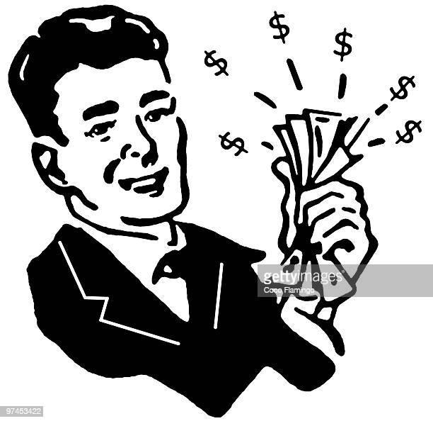 ilustraciones, imágenes clip art, dibujos animados e iconos de stock de a black and white version of a graphical illustration of a man with wads of cash - fajo de billetes