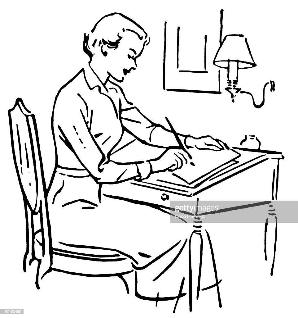 a black and white version of a line drawing of a woman at a writing