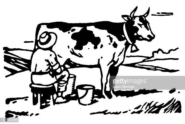 A black and white version of a man milking a cow in a field