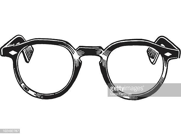 a black and white version of a pair of reading glasses - reading glasses stock illustrations