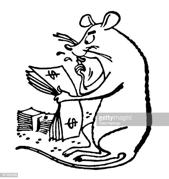 ilustraciones, imágenes clip art, dibujos animados e iconos de stock de a black and white version of a rat counts the cash - fajo de billetes
