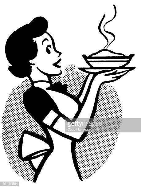 a black and white version of a vintage cartoon of a woman holding a hot pie - meat pie stock illustrations, clip art, cartoons, & icons