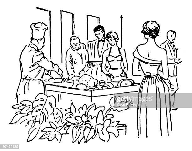 A black and white version of a vintage illustration of a group enjoying a buffet