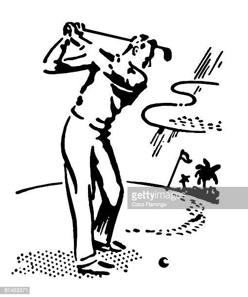 a black and white version of a vintage illustration of a man playing golf - country club stock illustrations, clip art, cartoons, & icons