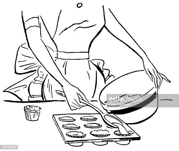 a black and white version of a vintage illustration of a woman baking muffins - making a cake stock illustrations, clip art, cartoons, & icons