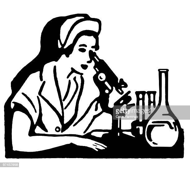 A black and white version of a vintage illustration of a woman looking into a microscope