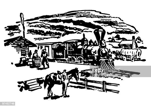 a black and white version of a vintage image of a ranch - paddock stock illustrations, clip art, cartoons, & icons