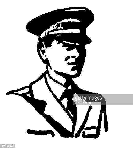 a black and white version of a vintage style portrait - aviator's cap stock illustrations