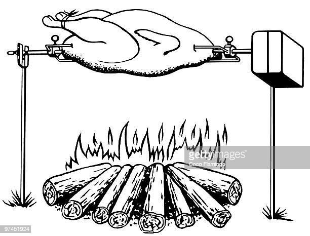 ilustraciones, imágenes clip art, dibujos animados e iconos de stock de a black and white version of an illustration of a chicken roasting on an open fire - pollo asado