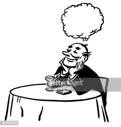A Black And White Version Of An Illustration Man Daydreaming At Cocktail Lounge Table Stock