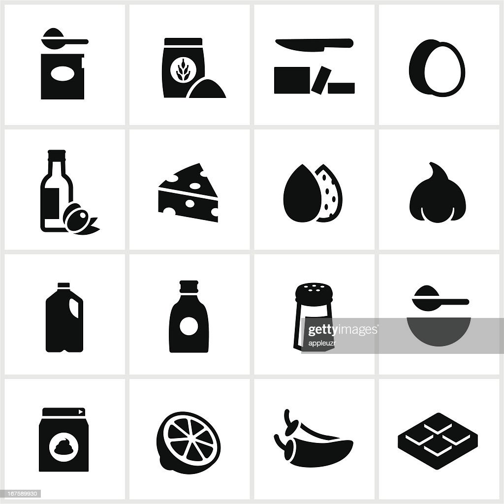 Black Baking and Cooking Ingredients Icons : stock illustration