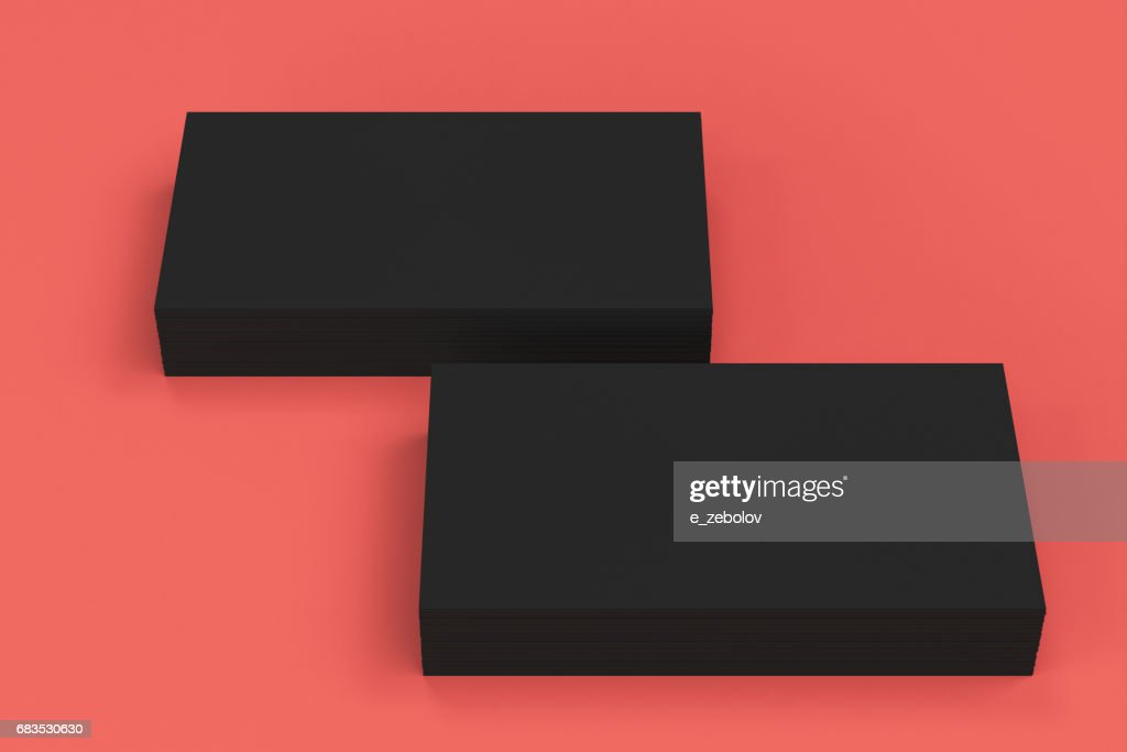 Schwarze Leere Visitenkarten Mockup Auf Rotem Grund Stock