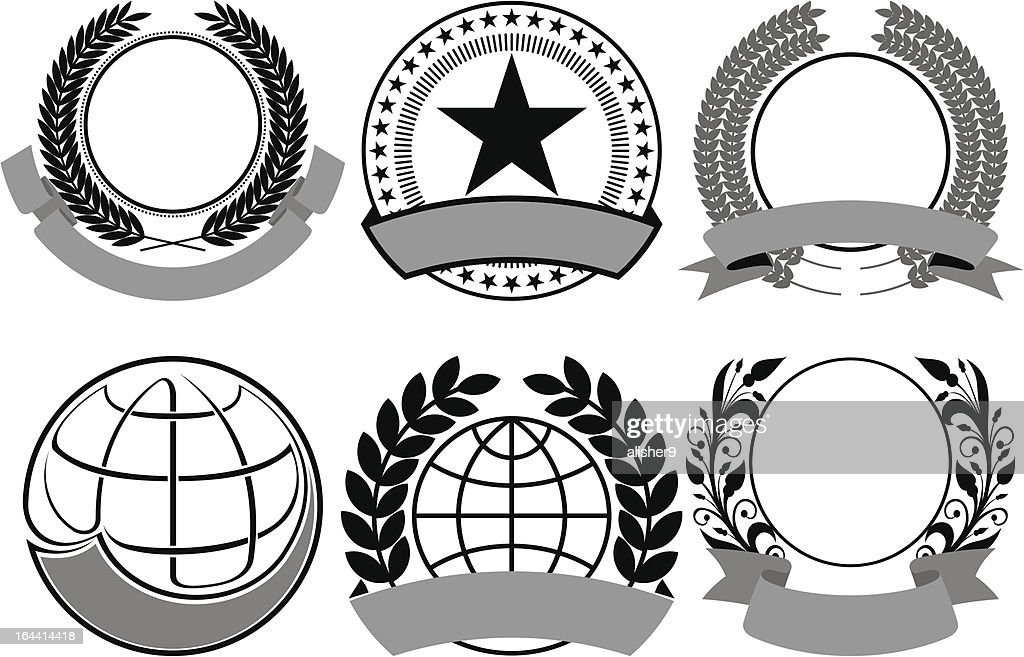 black blazon set vector