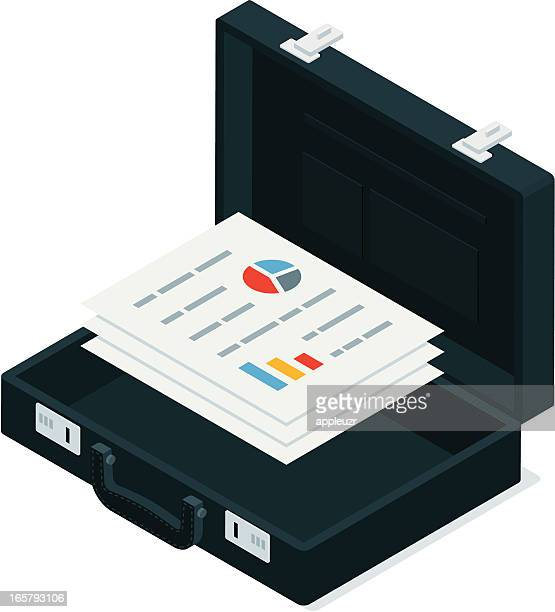 black briefcase with business documents - briefcase stock illustrations