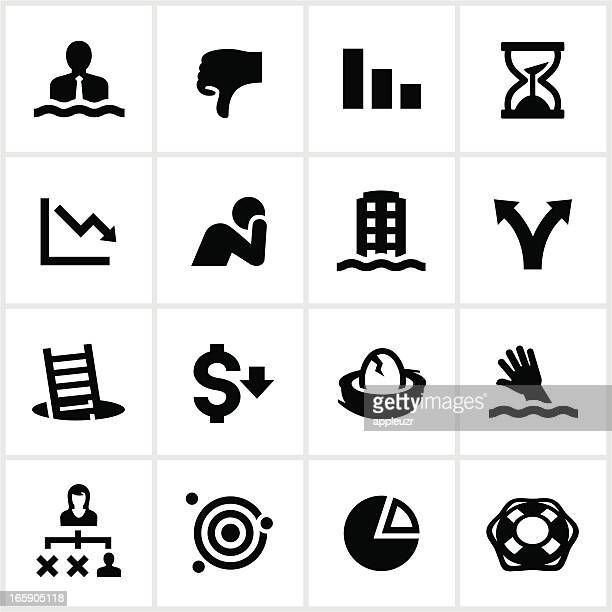 black business failure icons - thumbs down stock illustrations