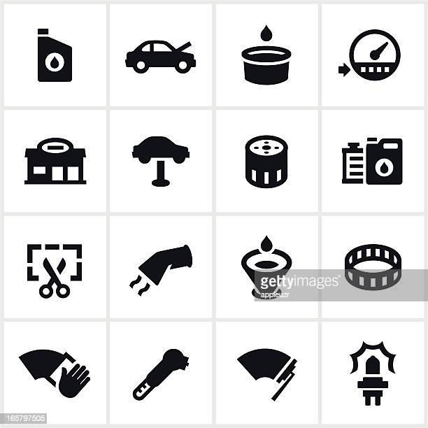 Black Car and Oil Service Icons
