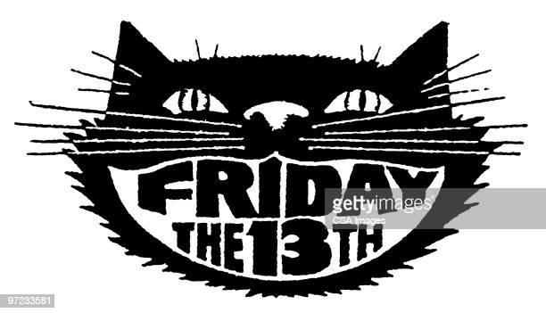 illustrations, cliparts, dessins animés et icônes de black cat friday the 13th - chat noir
