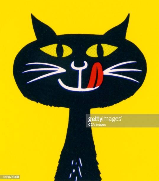 illustrations, cliparts, dessins animés et icônes de chat noir se lécher les lèvres - chat noir
