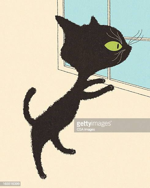 black cat looking out a window - bad luck stock illustrations, clip art, cartoons, & icons