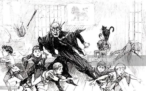 illustrations, cliparts, dessins animés et icônes de le chat noir effraie l'enseignant et les étudiants dans la salle de classe - chat noir